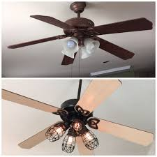 Hunter Fan Replacement Light Bulbs Diy Ceiling Fan Makeover Add Cage Bulb Guards And Edison