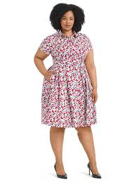 Donna Morgan Size Chart Collared Cherry Print Shirt Dress