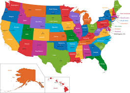 american states and capitals map with names  all world maps