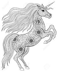 Hand Drawn Magic Unicorn For Adult Anti Stress Coloring Page