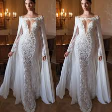 <b>Special Design With Cape</b> White Appliques Lace Evening DResses ...