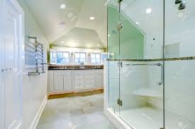 White Floor Bathroom Cabinet White Luxury Bathroom Cabinet With Two Sinks Vaulted Ceiling