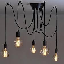 110 220v vintage edison ceiling pendant lamp industrial light fixture adjule black chandelier 5 heads 120cm
