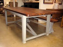 beautiful white wood base legs with rectangle reclaimed farmhouse table and benches as inspiring open dining room rustic furniture designs