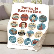 parks and recreation e mash up sherpa blanket