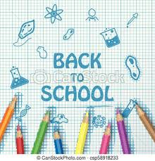 Back To School Text Drawing On Paper Graph With School Items And Elements And Color Pencils Vector Illustration