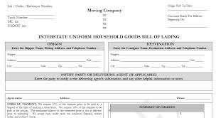 sample bol sample household goods bill of lading template