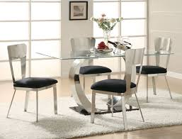 modern glass top dining room table. modern 5 pieces kitchen dining set with black upholstered stainless steel chairs and pedestal glass top table on white fur area rug room t