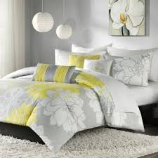Buy Grey and Yellow Bedding Sets from Bed Bath & Beyond & Madison Park Lola 6-Piece Reversible Full/Queen Duvet Cover Set in Yellow/ Adamdwight.com