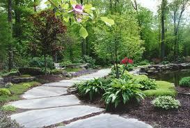 garden pathway. Great Natural Stone Garden Pathway Design And Lush Vegetation Backyard Landscape Idea Plus Ornamental Rocks