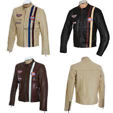 steve mcqueen original retro fashion heuer firestone gulf pure cowhide leather jacket