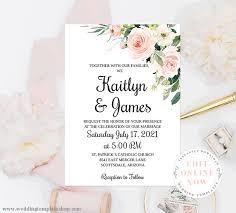 Wedding Invitation Templates With Photo Wedding Invitation Template Blush Florals Edit Online Download Print