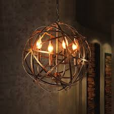 antique brass warehouse orb cage 4 light suspended metal globe candle style chandelier
