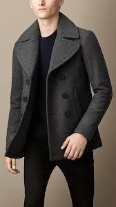 grey pea coats burberry wool cashmere pea coat