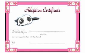 Pet Adoption Certificate Template 30 Stuffed Animal Birth Certificate Template Pryncepality