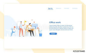 Office Banner Template Web Banner Template With Programmers Or Coders Working