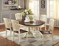 dining room chair styles amazon furniture of america pauline 7 piece cote style oval of dining