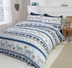 scandi duvet cover set 100 brushed cotton blue zoom