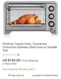chefman extra large convection oven toaster for in fall river ma offerup