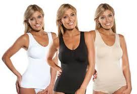 Details About Genie Cami Shaper Bra Tank Top Slimming Camisole Black White Beige