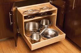 Modern Kitchen Ideas with Light Brown Wooden 3 Shelves Roll Out Pot Pan  Organizer, Dark