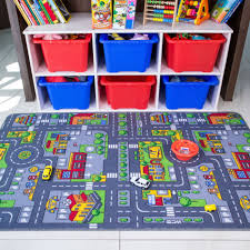 children s rugs town road map city rug play village mat for kids bedroom playmat