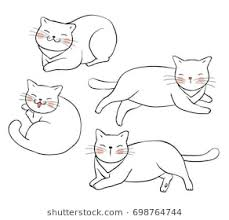 cat drawing outline. Simple Outline Vector Illustration Character Design Outline Of CatDraw Doodle Style On Cat Drawing Outline