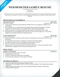sample resume for experienced web designer gallery of web design resume  sample sample resume for web