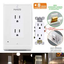 Led Cover Plate Night Light 8 Pack Upgraded Version Wall Outlet Cover With Led Night