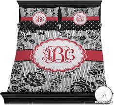 black lace duvet cover set personalized
