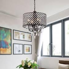 marya 4 light antique black round drum crystal chandelier ceiling fixture