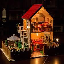 com rylai wood dollhouse miniature diy kit w light love fort