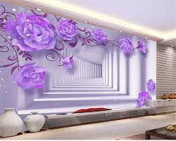 Beibehang HD Fresco 3D Ungu Timur ...