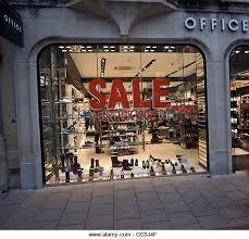 office shoe shop. sale sign shop window office shoe stock image