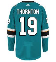 Adidas Jersey Jose Joe Nhl Sharks Hockey Authentic Thornton San Home