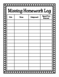 Homework Chart For Parents Missing Homework Log And Parent Notice Missing Homework