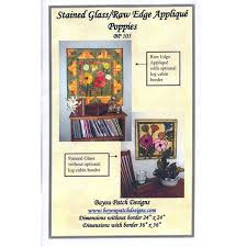 stained glass raw edge applique poppies pattern