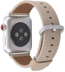 coverlab apple watch band 42mm men women light tan genuine leather replacement iwatch strap with silver metal clasp for apple watch series 3 2 1 sport