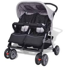 Huberxxl Baby Zwillingswagen Stahl Grau Und Schwarz