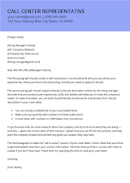 Call Center Cover Letter Example Call Center Representative Cover Letter Example Template