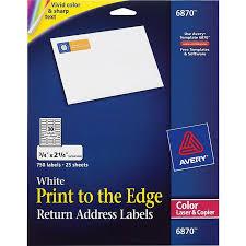 Avery Template 3379 Avery Vibrant Color Printing Return Address Labels 3 4 X 2 1 4 White 750 Pk