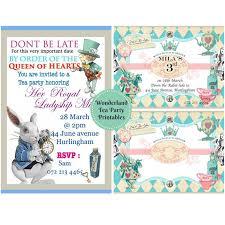Tea Invitations Printable Wonderland Tea Party Invitation And Food Label Printables Living