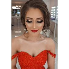 my beautiful seda for her henna night perfect cut crease smokey bridal makeup hair by prom hair for strapless dress