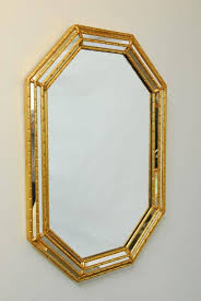 gold bamboo mirror. Glamorous Mid-Century Mirror Featuring A Faux Bamboo Frame Made Of Carved Wood With Gold