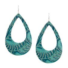 turquoise eclipse tooled leather earrings loading image