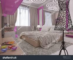 bedroom design for young girls. 3d Illustration Of A Bedroom Interior Design For The Young Girl. Modern Scandinavian Style Girls E
