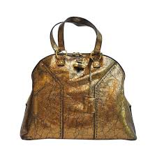 yves saint lau bronze distressed leather large muse bag purse for