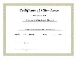Attendance Award Template Free Blank Printable Certificate Of Attendance Sample