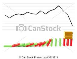 Dominos Chart Gold Bars Standing On Falling Dominos With A Falling Chart On Background As A Monetary Concept