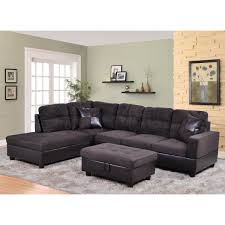 undefined dark brown microfiber and faux leather left chaise sectional with storage ottoman